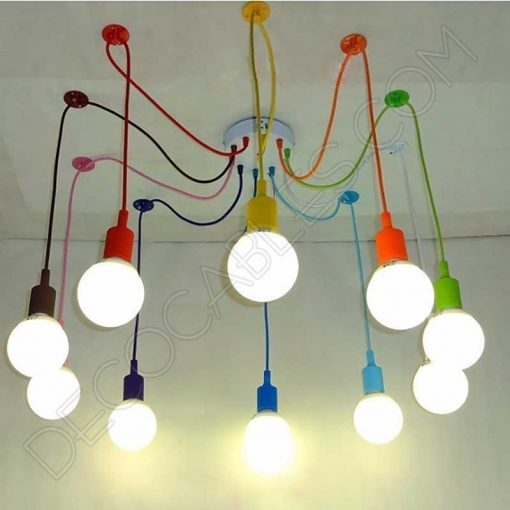 Lámpara araña de silicona multicolor