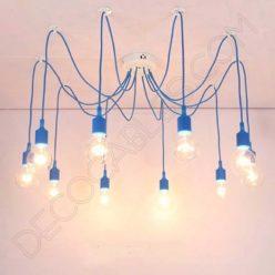 Lámpara araña de silicona azul