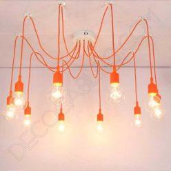 Lámpara araña de silicona naranja