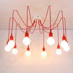 Lámpara araña de silicona roja