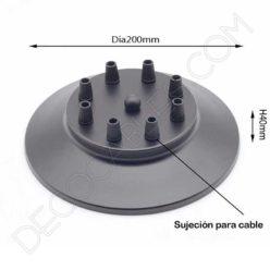 Soporte florón de techo para lámpara negro de 8 salidas
