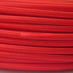 Cable eléctrico redondo de tela de color rojo