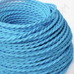 Cable eléctrico trenzado seda azul turquesa