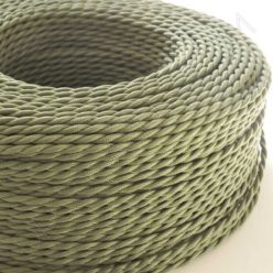 Cable eléctrico trenzado seda verde oliva