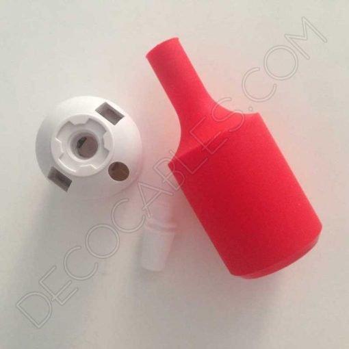 Portalámpara de silicona color rojo