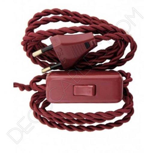Pack de clavija e interruptor de paso en color granate