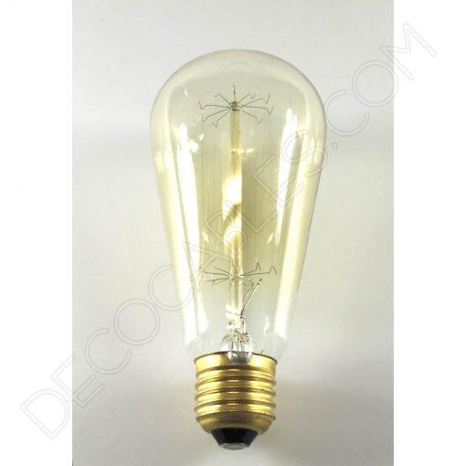 Bombilla Edison modelo Pebetero filamento de carbono rayado