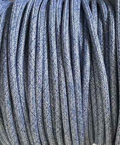 Cable eléctrico redondo de tela vaquera color azul y blanco en zig-zag jaspeado