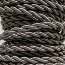 Cable eléctrico trenzado de seda color gris