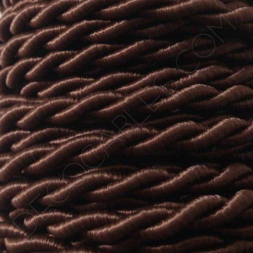 Cable eléctrico trenzado de seda marrón