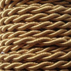 Cable eléctrico trenzado de seda dorado
