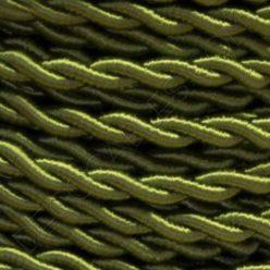 Cable eléctrico trenzado de seda color verde