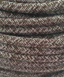 Cable eléctrico redondo de tela vaquera color marrón y blanco en zig-zag jaspeado