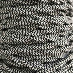 Cable eléctrico trenzado bicolor zig zag blanco negro