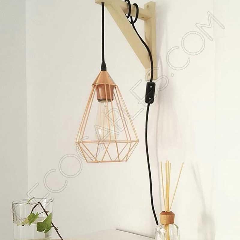 Escuadra de madera para l mparas colgantes en color - Casquillos para lamparas ...
