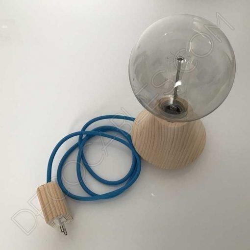 Clavija bipolar macho de madera para lámparas