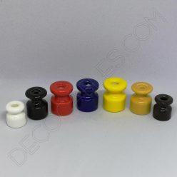 Aislador de porcelana para cable eléctrico trenzado varios colores