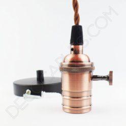 Lámpara colgante con portalámpara de perilla cobre viejo