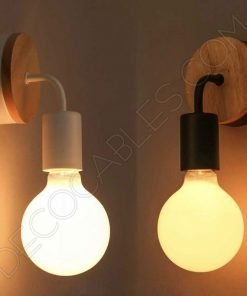 Lámpara aplique de pared de metal y madera en negro o blanco