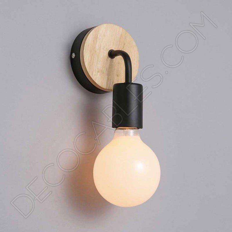 lmpara aplique de pared de metal y madera en negro - Lampara Pared