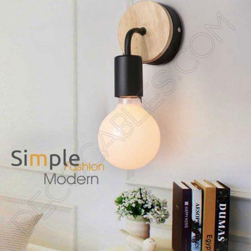 Lámpara aplique de pared de metal y madera en negro