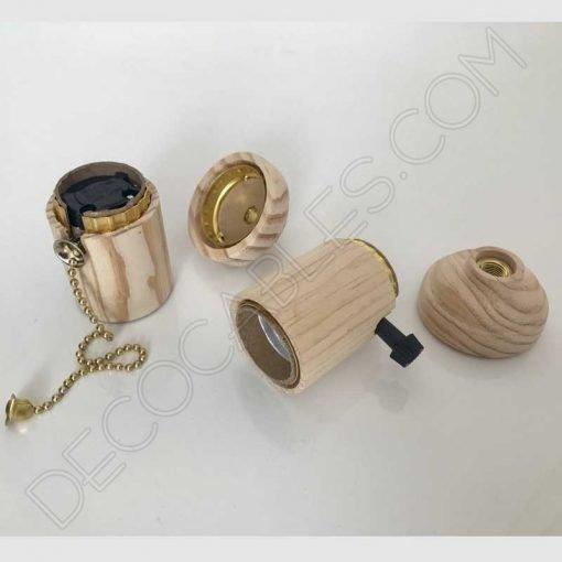 Portalámparas de madera con interruptor