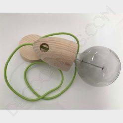 Lámpara colgante de madera modelo campana
