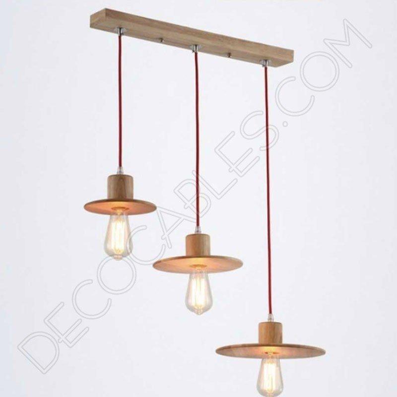 L mpara regleta de madera modelo sombrero decocables for Modelos de lamparas