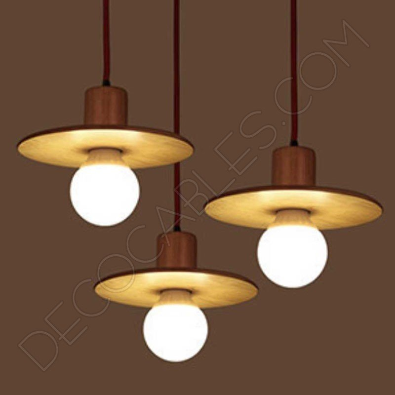 L mpara colgante de madera modelo sombrero decocables for Modelos de lamparas