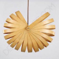 Lámpara colgante de madera, bambú y cuerda modelo caracol