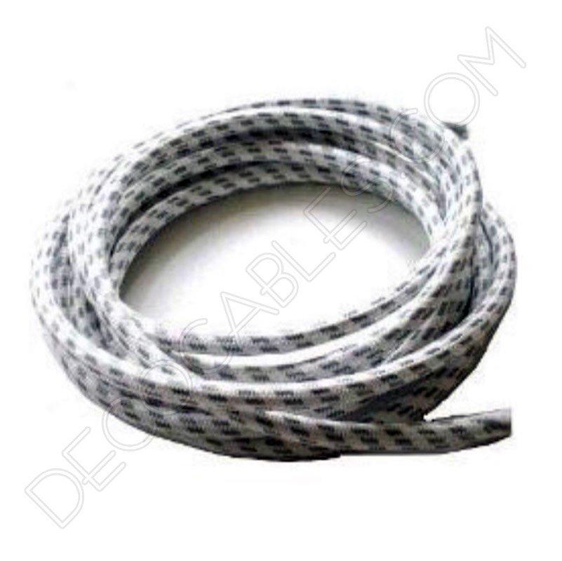 Cable el ctrico redondo forrado de tela cable blanco y - Cable electrico para exterior ...