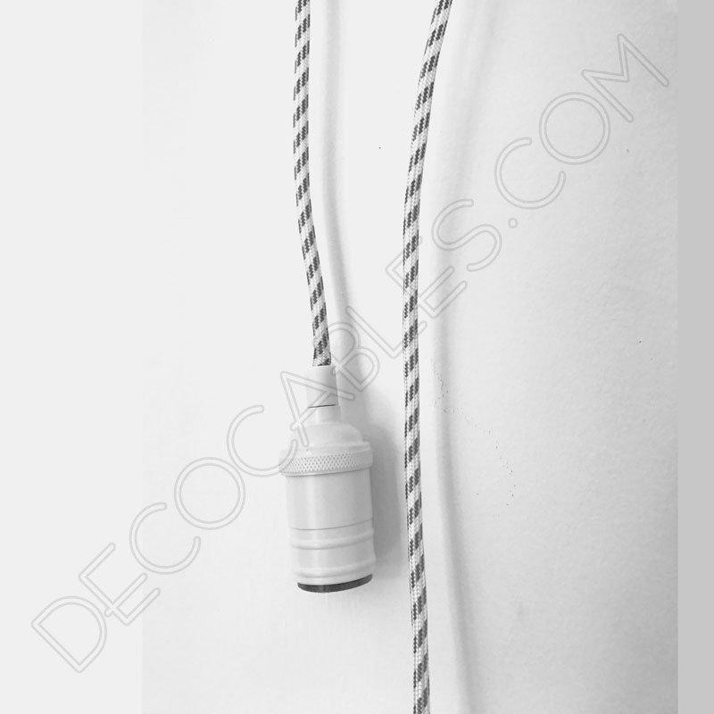 Cable el ctrico redondo forrado de tela cable blanco y for Corredor deco blanco y gris