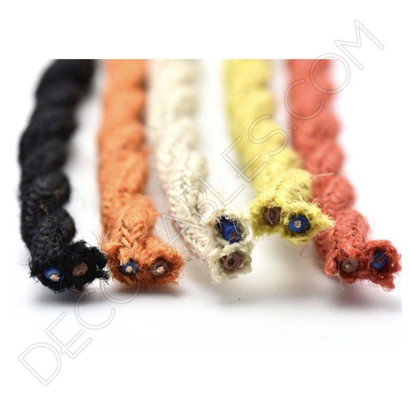 Cable eléctrico trenzado de cuerda de cáñamo varios colores