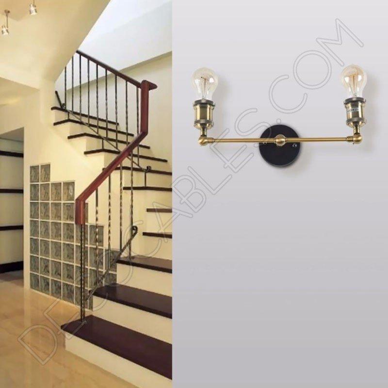 L mpara aplique de pared vintage de dos brazos al mejor precio - Lamparas de aplique para pared ...