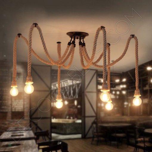Lámpara araña de cuerda de 6 brazos