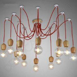 Lámpara colgante araña de madera color rojo