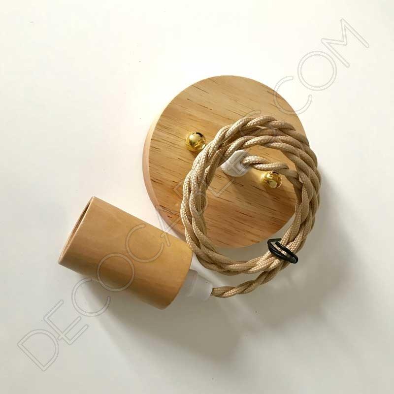 L mpara colgante de madera de haya y cable trenzado - Lamparas colgantes de madera ...