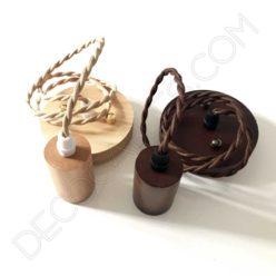 Lámpara colgante de madera de haya y cable trenzado
