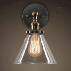 Lámpara aplique de pared tulipa de cristal estilo vintage