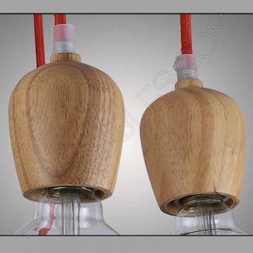 Cubre portalámparas madera roble modelo bellota