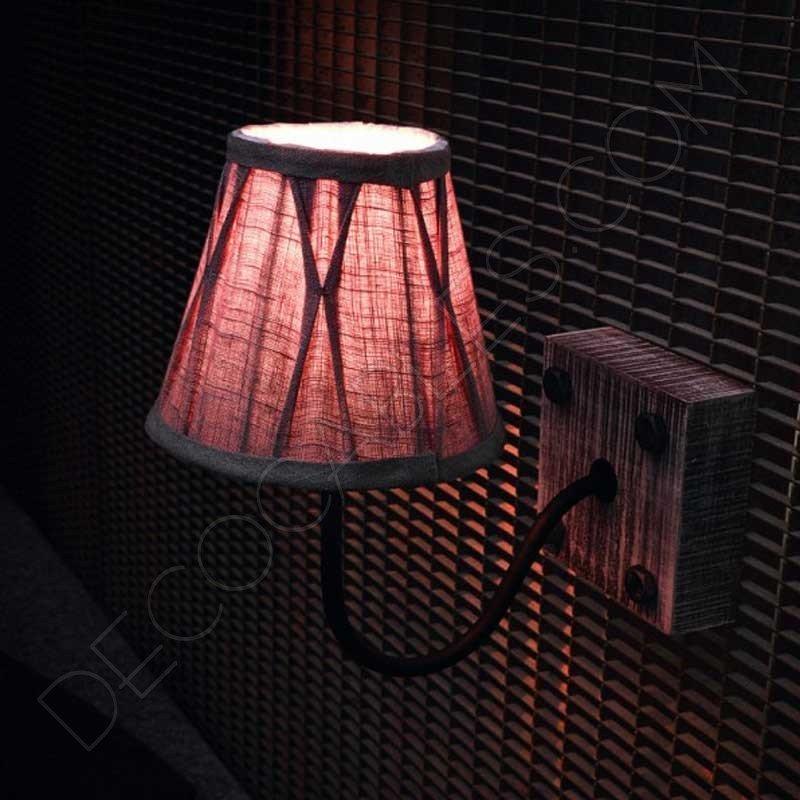 fdbfc712a6c Aplique de pared lámpara en madera y metal negro Vintage al mejor precio