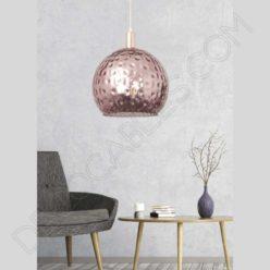 Lámpara colgante cristal esmaltado modelo León rosa oro