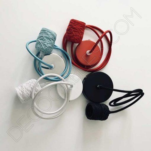 Lámpara colgante con portalámparas textil de algodón en varios colores