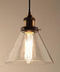 Lámpara colgante con tulipa de cristal estilo vintage