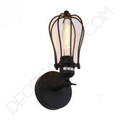 Lámpara aplique de pared Vintage negro mate con jaula