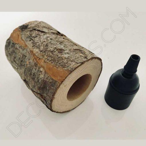 Cubre portalámparas tronco de árbol