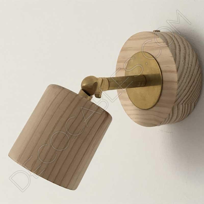 Foco aplique de madera con brazo articulado al mejor precio for Aplique pared madera
