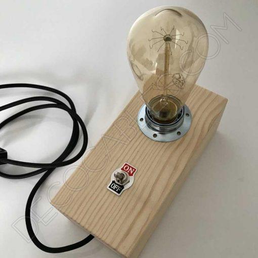 Lámpara caja de madera sobremesa y pared