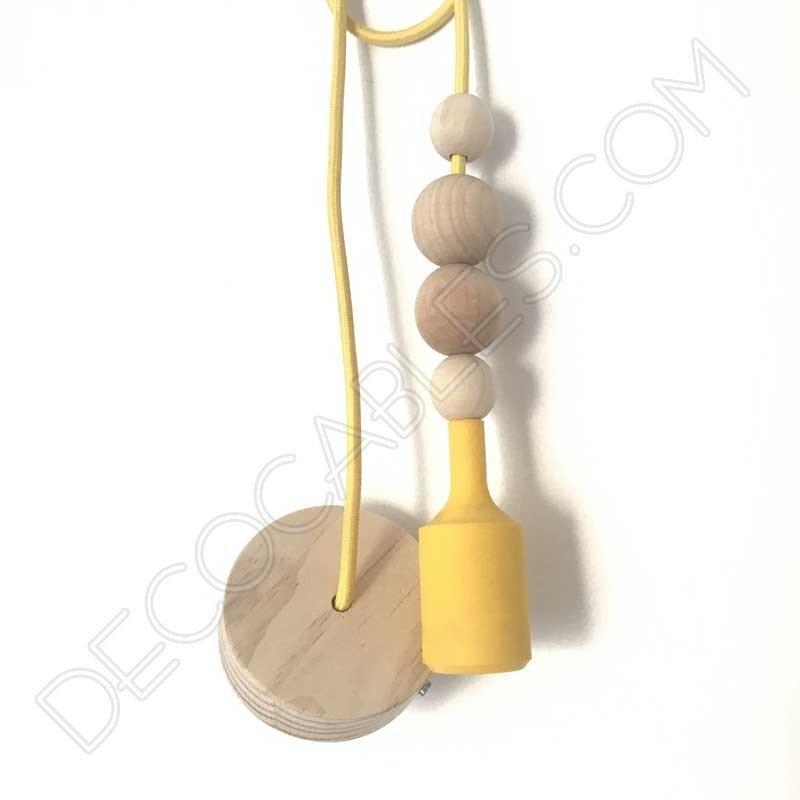 L mpara colgante de silicona y bolas de madera decocables - Lamparas colgantes de madera ...