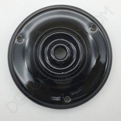 Florón cerámica esmaltada para soporte de lámparas negro
